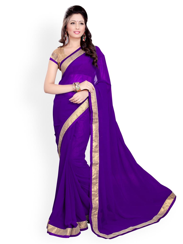 33ac5ddc4e Buy Mirchi Fashion Purple Poly Georgette Fashion Saree - Sarees for ...
