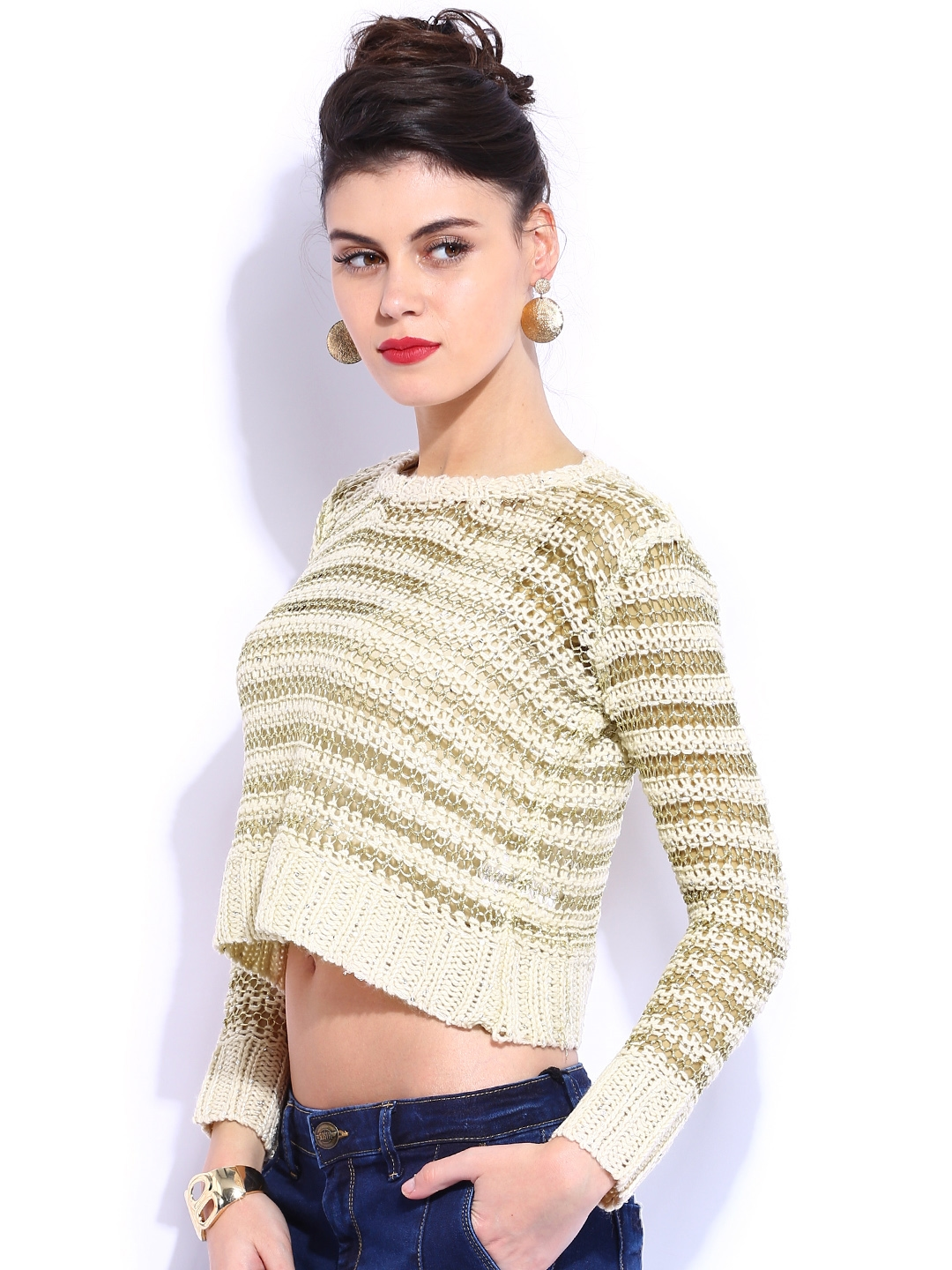 609d6dcd81 Buy D Muse By DressBerry Beige   Gold Toned Sweater - Sweaters for ...