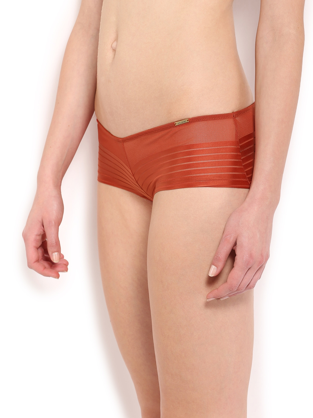 5cb39f6144ee Buy Amante Women Rust Orange Self Striped Boy Shorts PGSR02 - Briefs ...