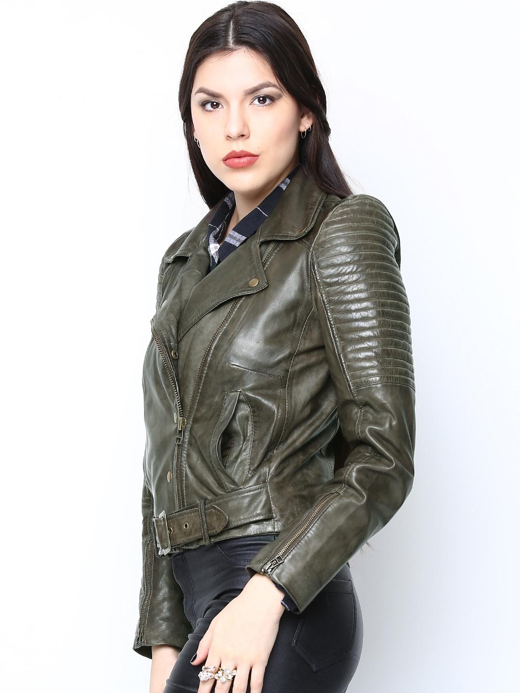 Buy Bareskin Women Olive Green Leather Jacket Jackets For Women