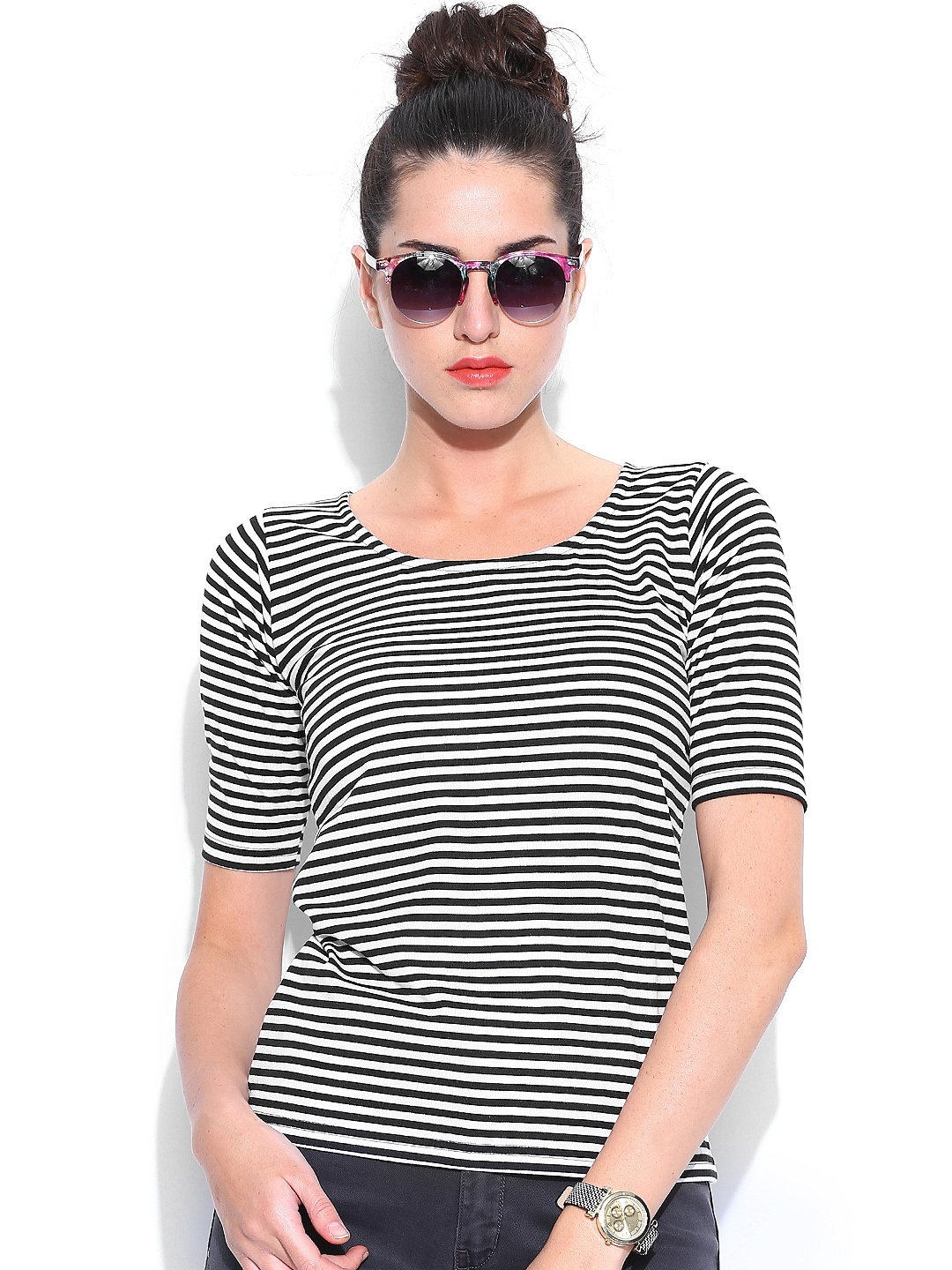 Miss Chase Women Black   White Striped Top