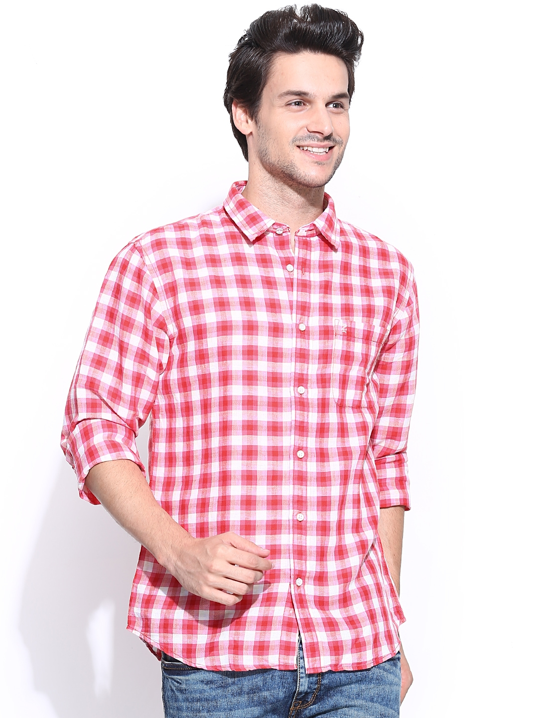 Buy Izod Men Pink Off White Checked Slim Fit Linen Casual Shirt