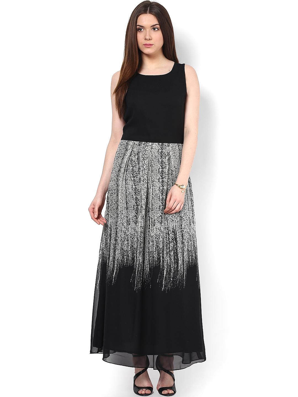 Buy Athena Black Printed Maxi Dress Dresses For Women