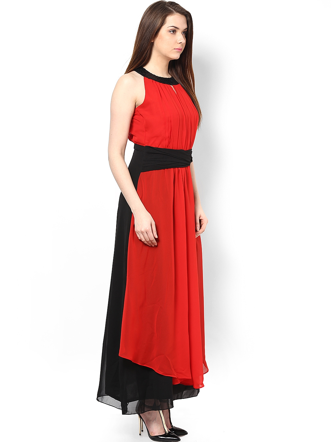 6899f5c577 Buy Athena Black & Red Polyester Georgette Maxi Dress - Dresses for ...