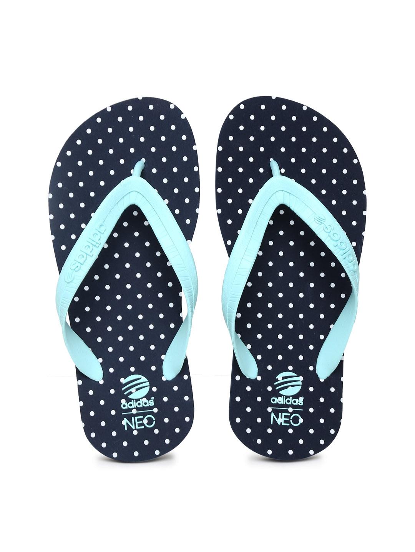 e55d1d8f716e Buy ADIDAS NEO Women Sea Green   Navy Polka Dot Printed Flip Flops - Flip  Flops for Women 702651