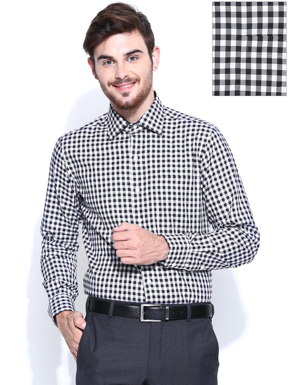 44b92d71eee Buy Wills Lifestyle Men Black   White Gingham Checked Slim Fit Formal Shirt  - Shirts for Men 710032
