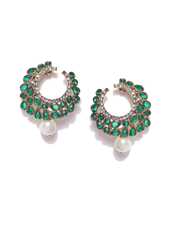 Zaveri Pearls Green   Gold Toned Drop Earrings
