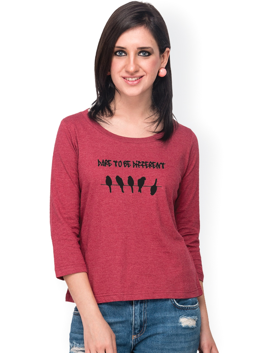 Campus Sutra Women Maroon Printed T shirt