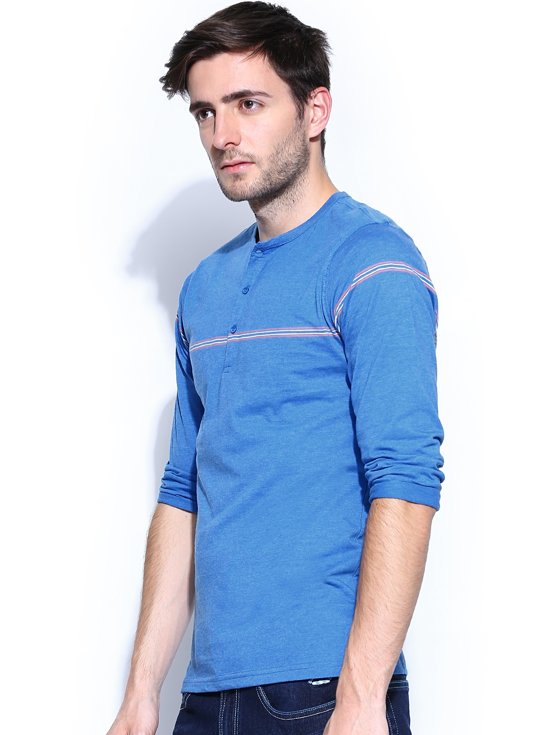 aae20c6be6d0 Buy FREECULTR Men Blue & White Striped Henley T Shirt - Tshirts for ...