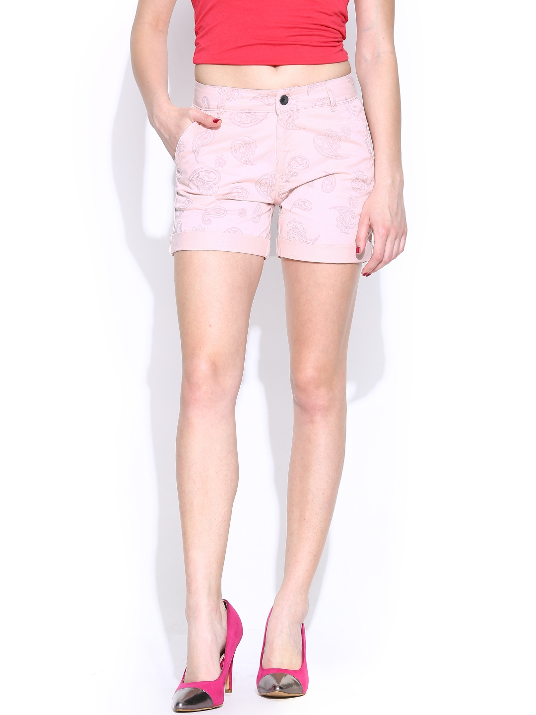 United Colors of Benetton Women Pink Printed Shorts