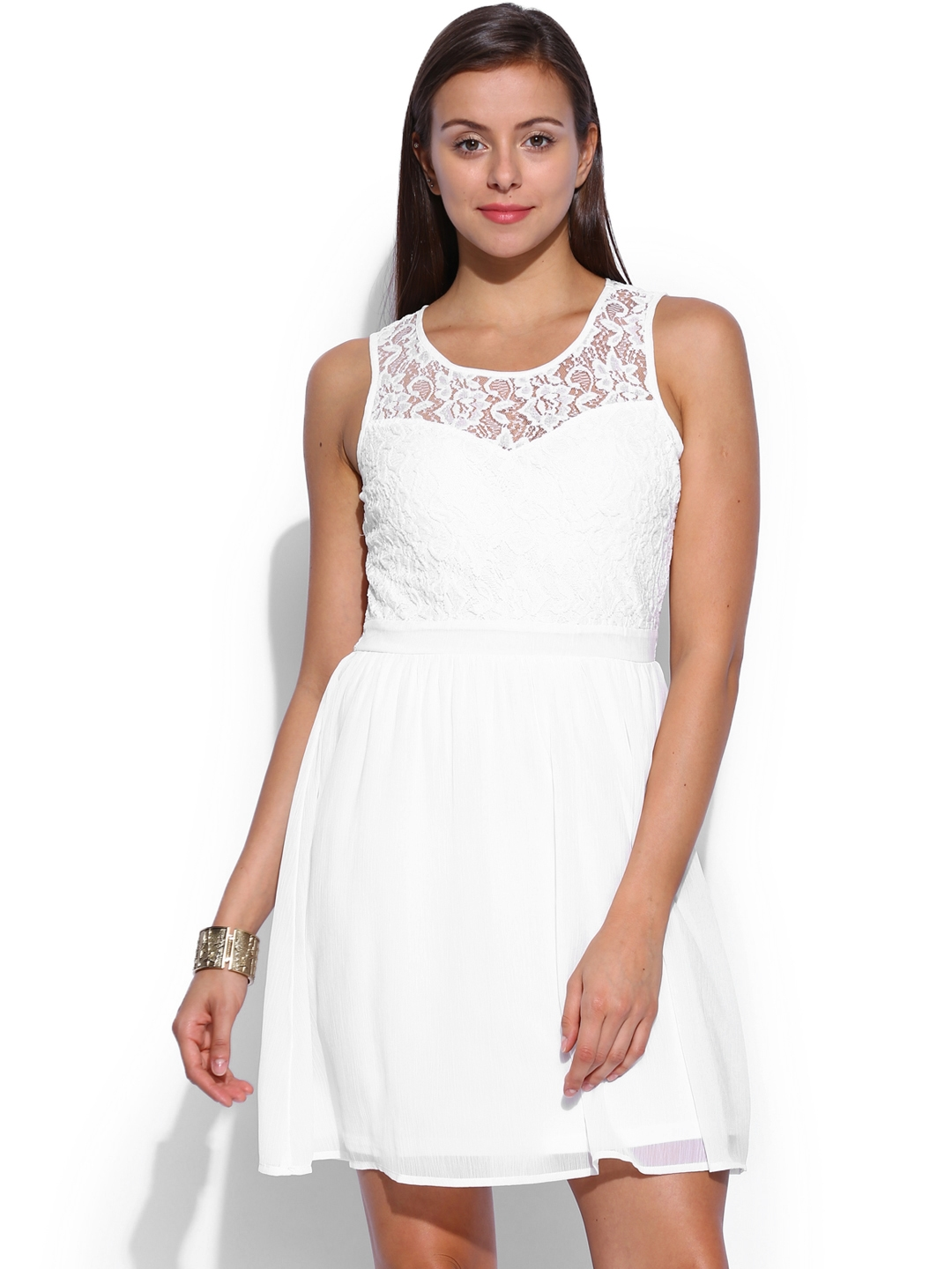 Buy ONLY White Lace Fit   Flare Dress - Dresses for Women 749954 ... 2fd110c5d