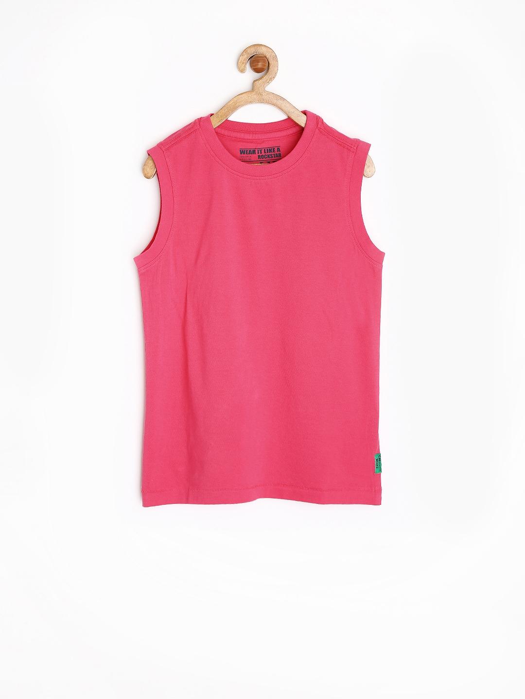d5640cd2f Buy Rockstar By Flying Machine Boys Pink Sleeveless T Shirt ...