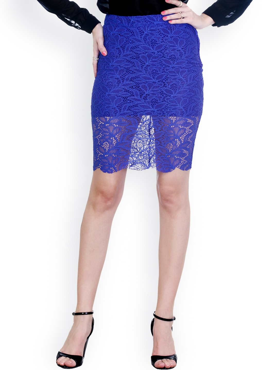 d2df492f1d Buy FabAlley Blue Lace Pencil Skirt - Skirts for Women 794958   Myntra
