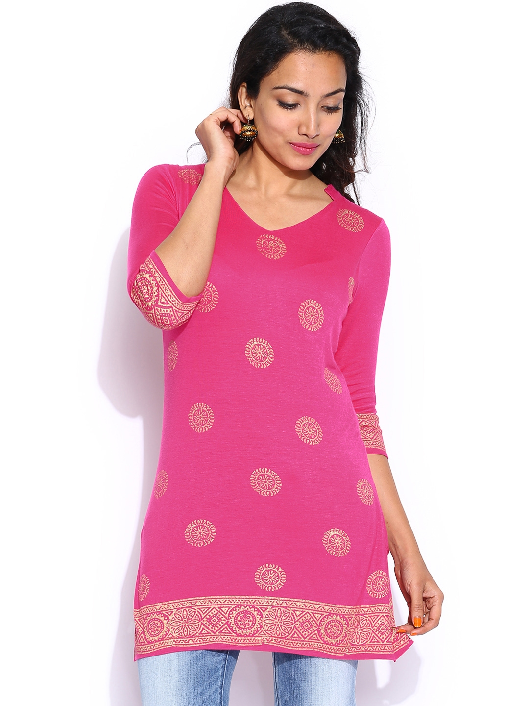 dd942e34c1e9 Buy Anouk Pink Printed Indian Affair Tunic - Tunics for Women 796894 ...