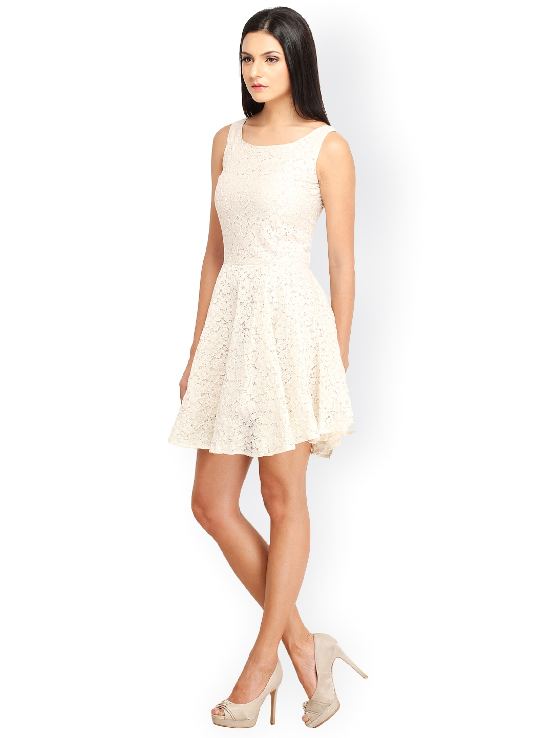 a47a1f7a981 Buy Cation Off White Fit   Flare Lace Dress - Dresses for Women ...