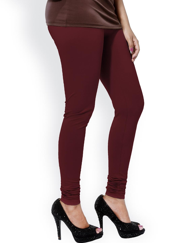 Buy Go Colors Maroon Churidar Leggings Leggings For Women 816055