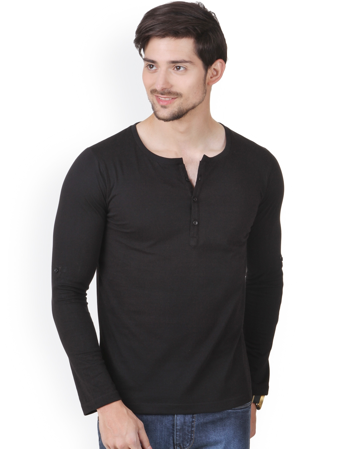 Black t shirt rolled up sleeves - Rs 799
