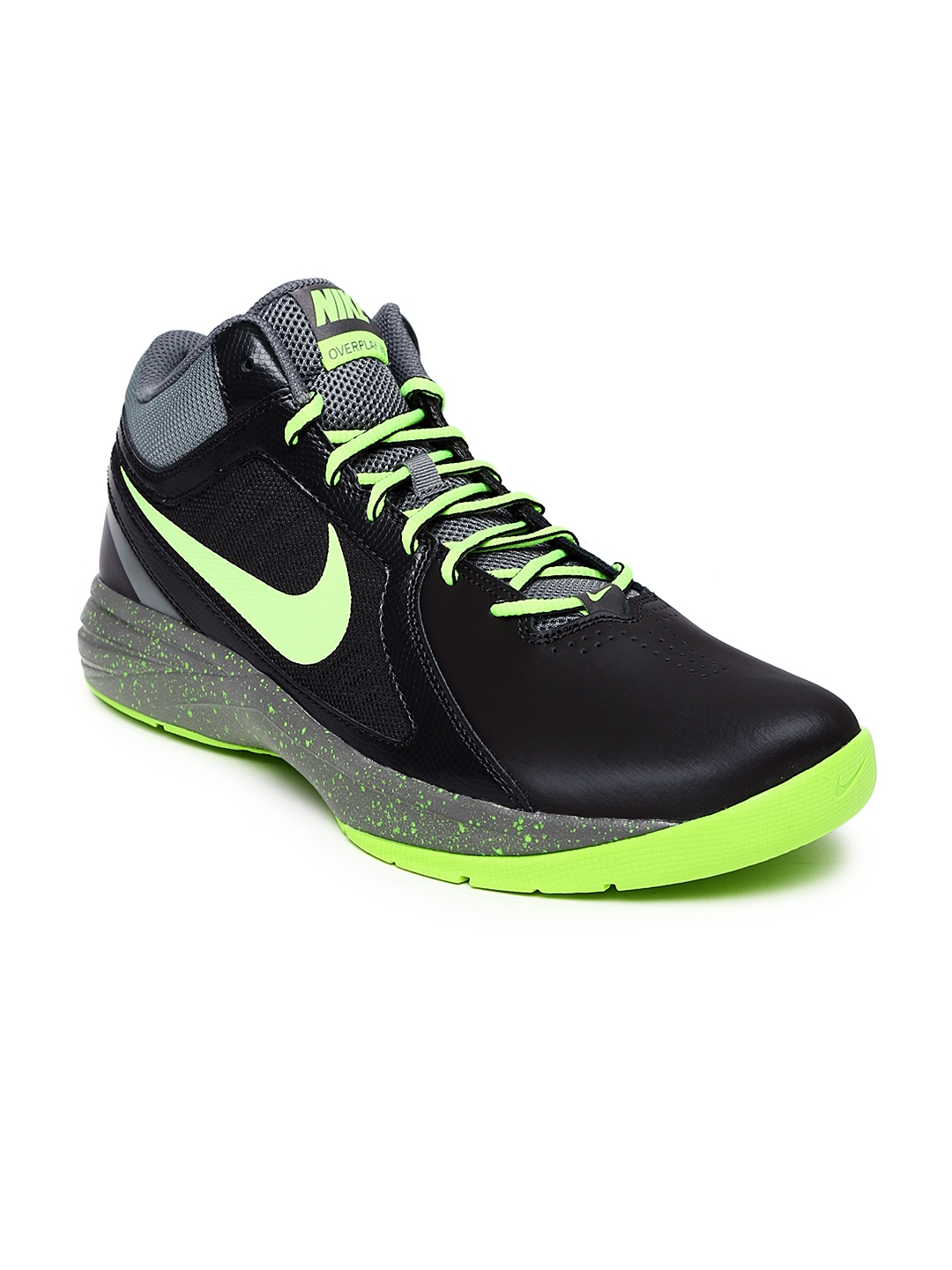 02a518635b22d Nike Men Black & Neon Green The Overplay VIII Basketball Shoes