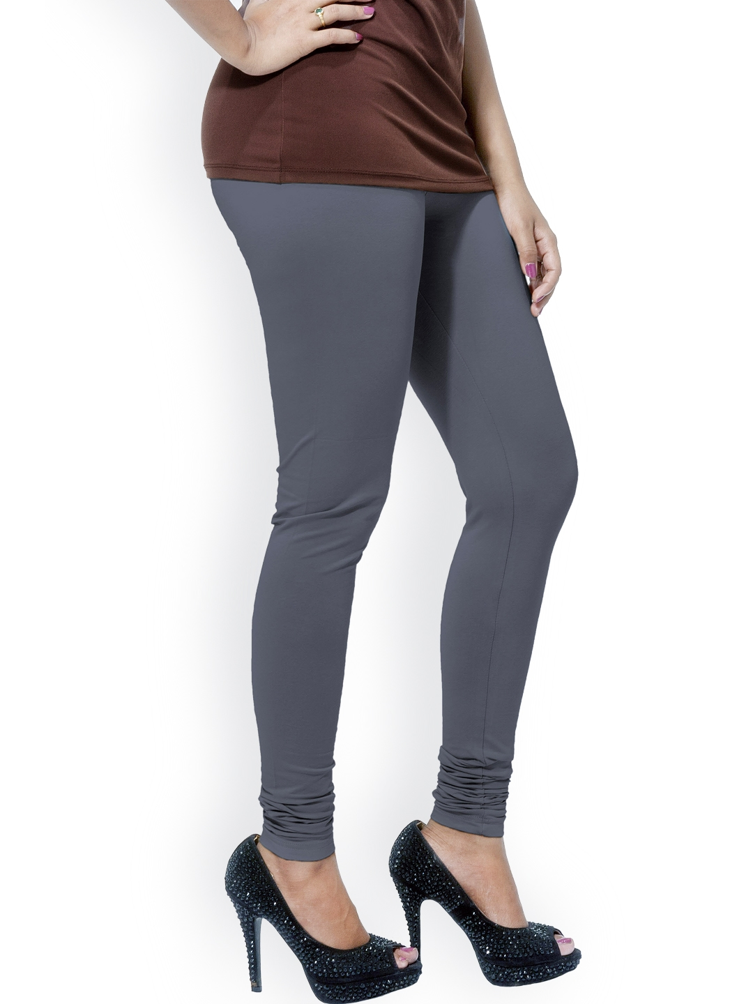 8dc241dcb9 Buy Go Colors Grey Cotton & Lycra Churidar Leggings - Leggings for ...