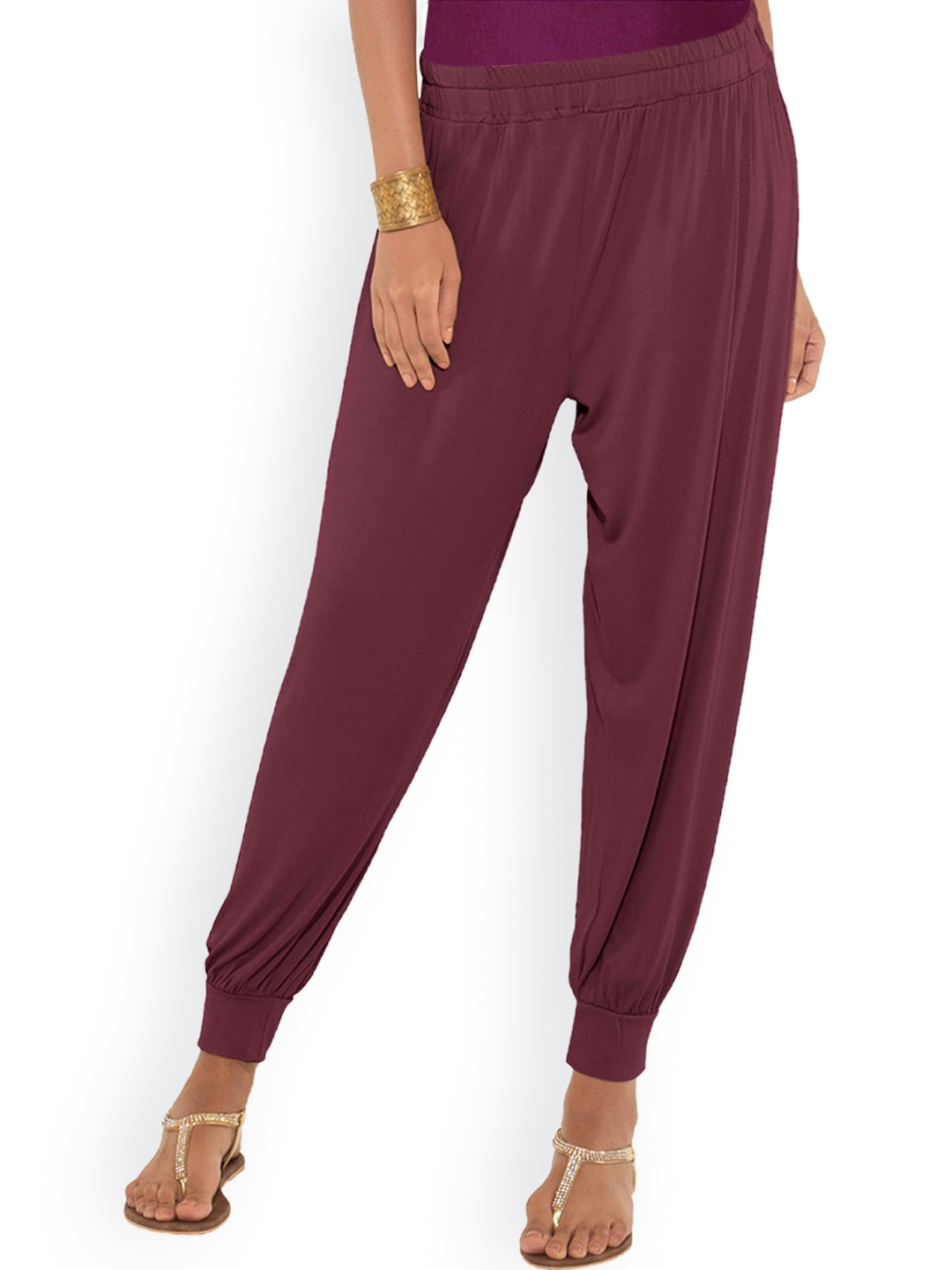Buy Go Colors Burgundy Cotton Viscose Harem Pants Harem Pants