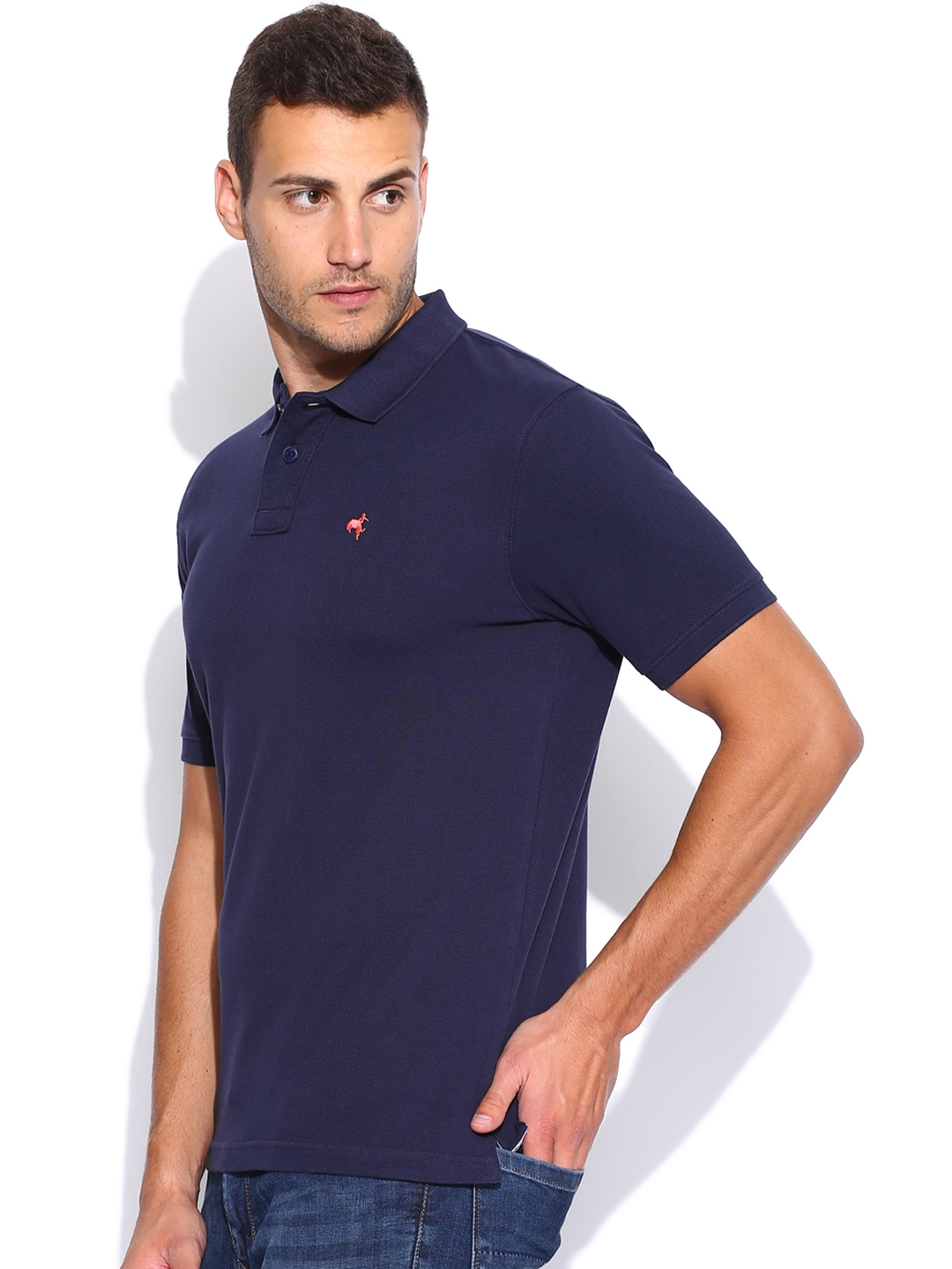 ac657440 Buy Wrangler Navy Polo T Shirt - Tshirts for Men 871103 | Myntra