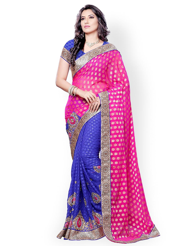 Colors Pink & Blue Embroidered Jacquard Fashion Saree
