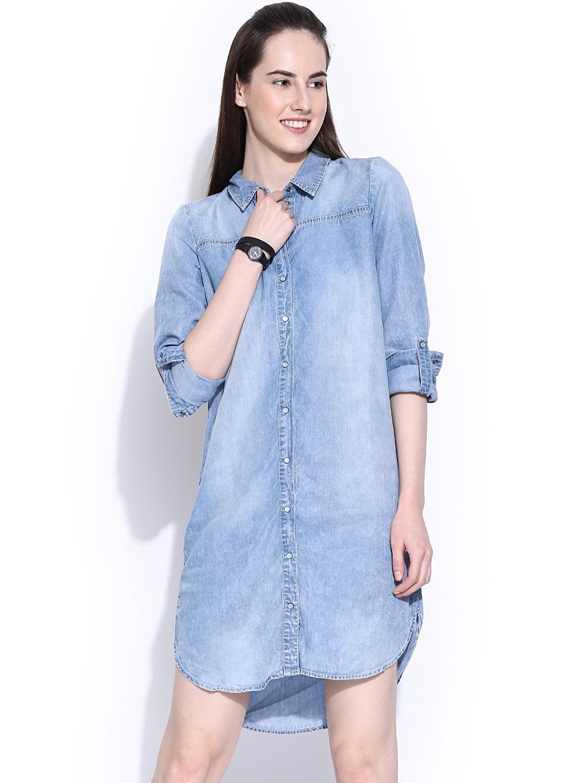 3abd80133fc402 Buy Vero Moda Blue Denim Shirt Dress - Dresses for Women 883548