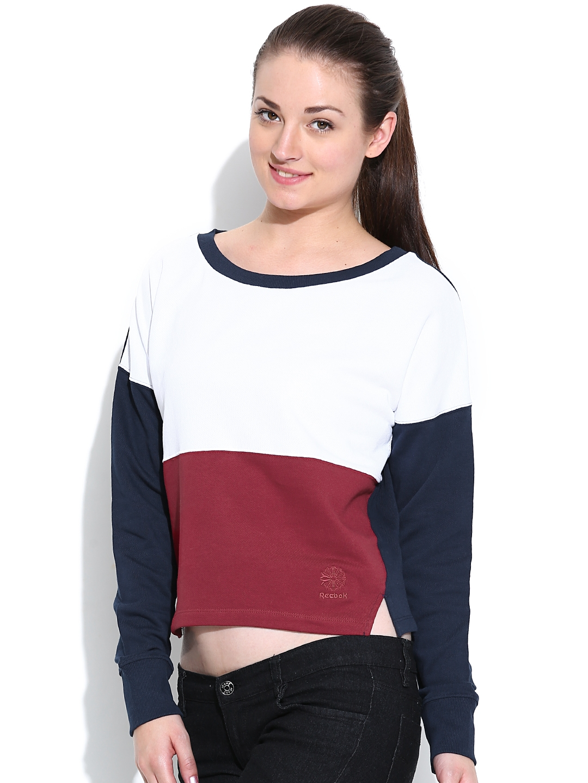 9d7ca56525e95e Buy Reebok Classic Navy   White Colourblocked Cropped CRW Sweatshirt ...