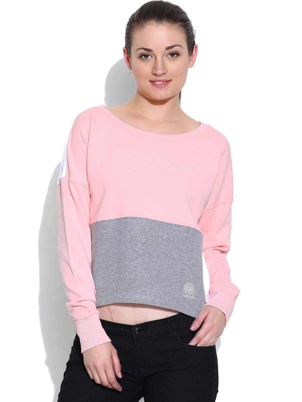 9d4c880f3049 Reebok Classic Peach   White Colourblocked Cropped CRW Sweatshirt