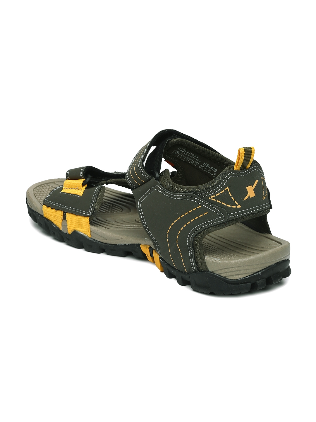 52df47d1a81377 Buy Sparx Men Olive Green   Yellow Sports Sandals - Sports Sandals ...