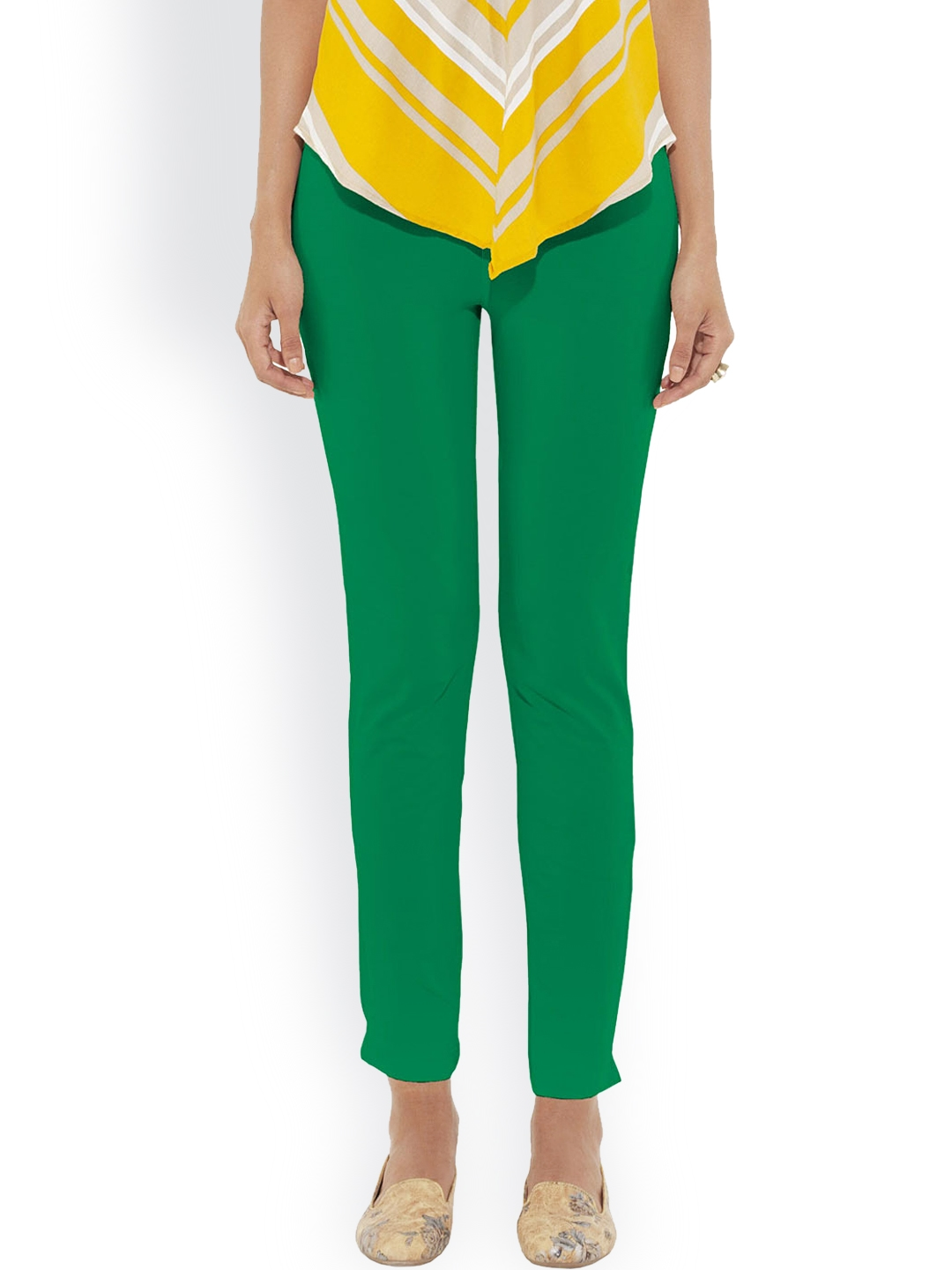 Buy Go Colors Green Coloured Pants Trousers For Women 910151 Myntra