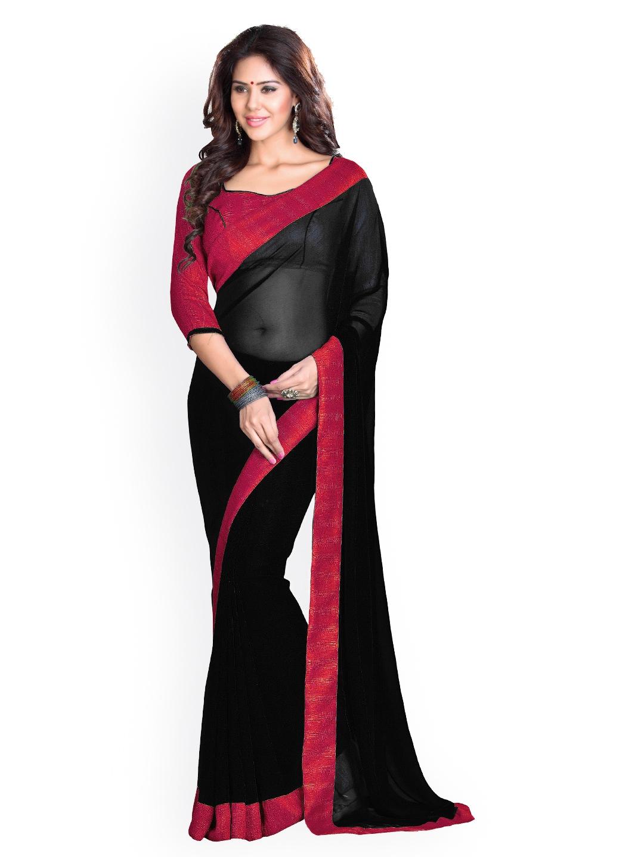 edf7d12c4f Buy Mirchi Fashion Black Poly Georgette Saree - Sarees for Women ...