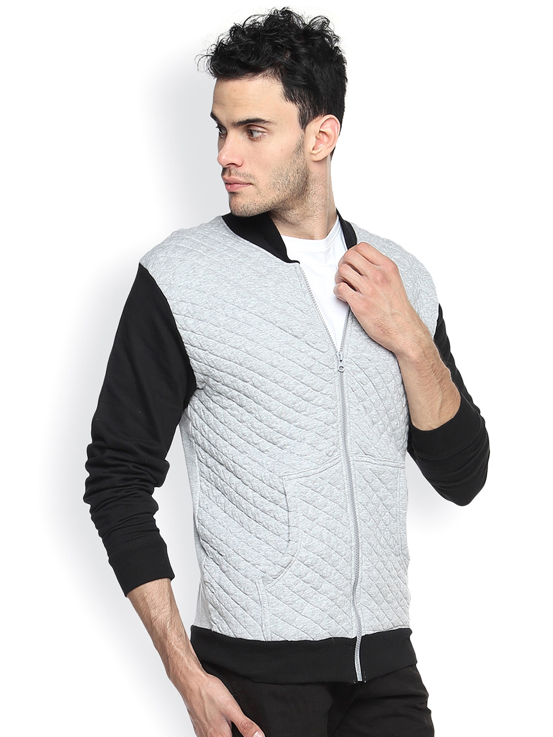 cc5824b0d Buy Campus Sutra Grey Quilted Jacket - Jackets for Men 925033 | Myntra