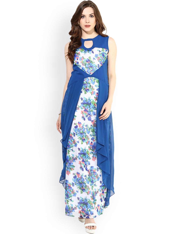 9091dfcc7af Buy Athena Blue   White Printed Maxi Dress - Dresses for Women ...