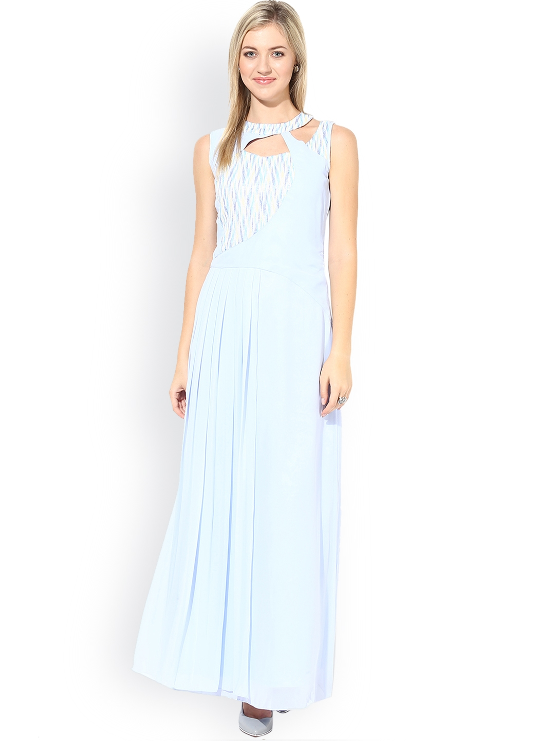 1630fd336b0 Buy Athena Blue Printed Pleated Maxi Dress - Dresses for Women ...