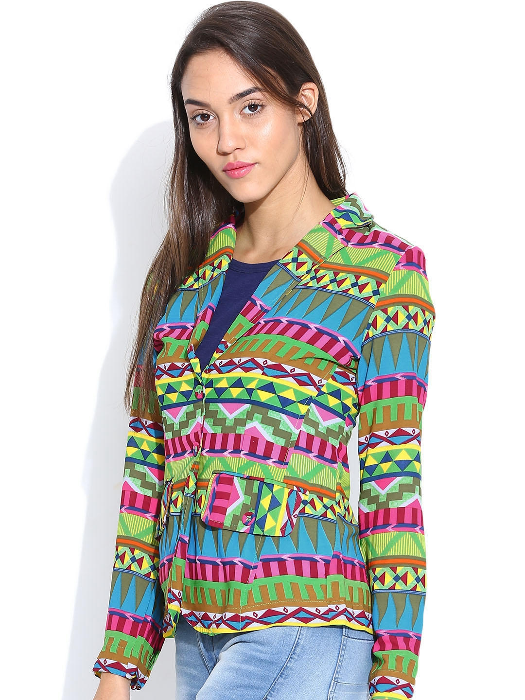 bc4c218103c8eb Buy Folklore Multicoloured Printed Jacket - Jackets for Women | Myntra