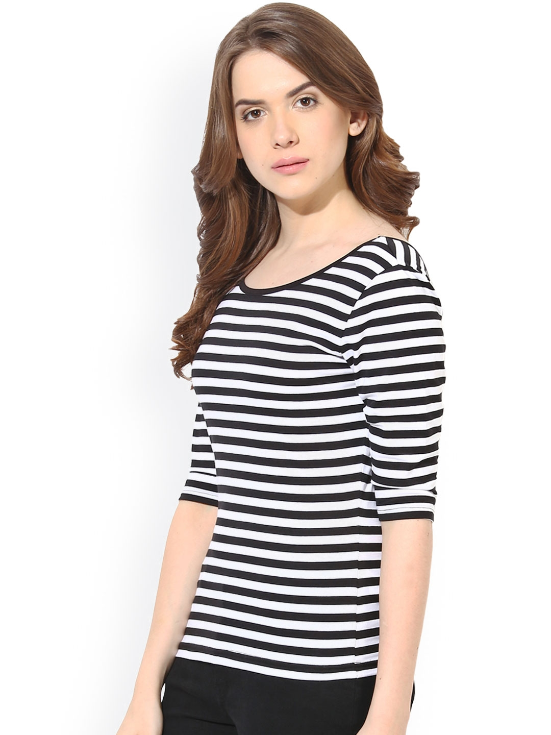 939638d90d8 Buy Harpa Black & White Striped Top - Tops for Women 940662   Myntra