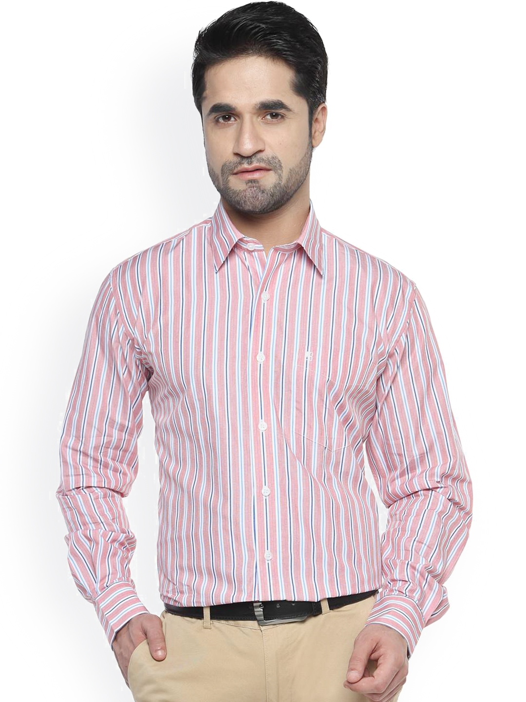 Balista Pink   Blue Striped Classic Fit Formal Shirt