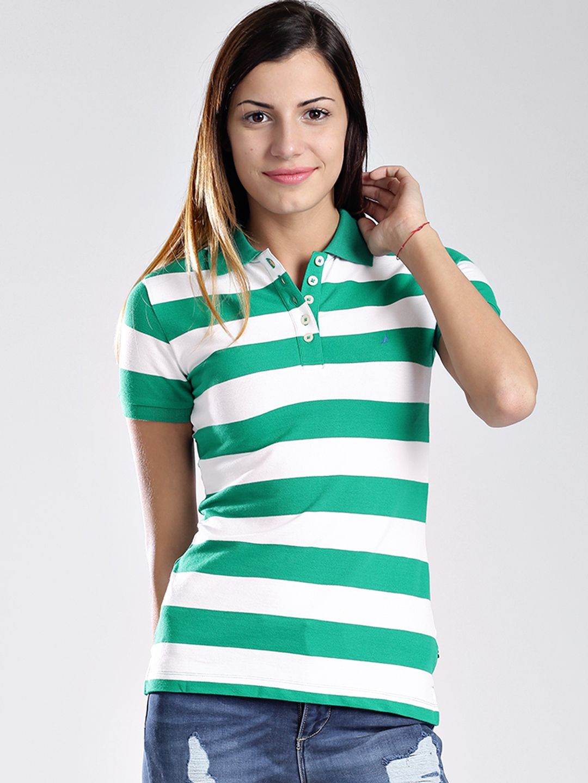 Buy Nautica White   Green Striped Polo T Shirt - Tshirts for Women ... 9d3675188b