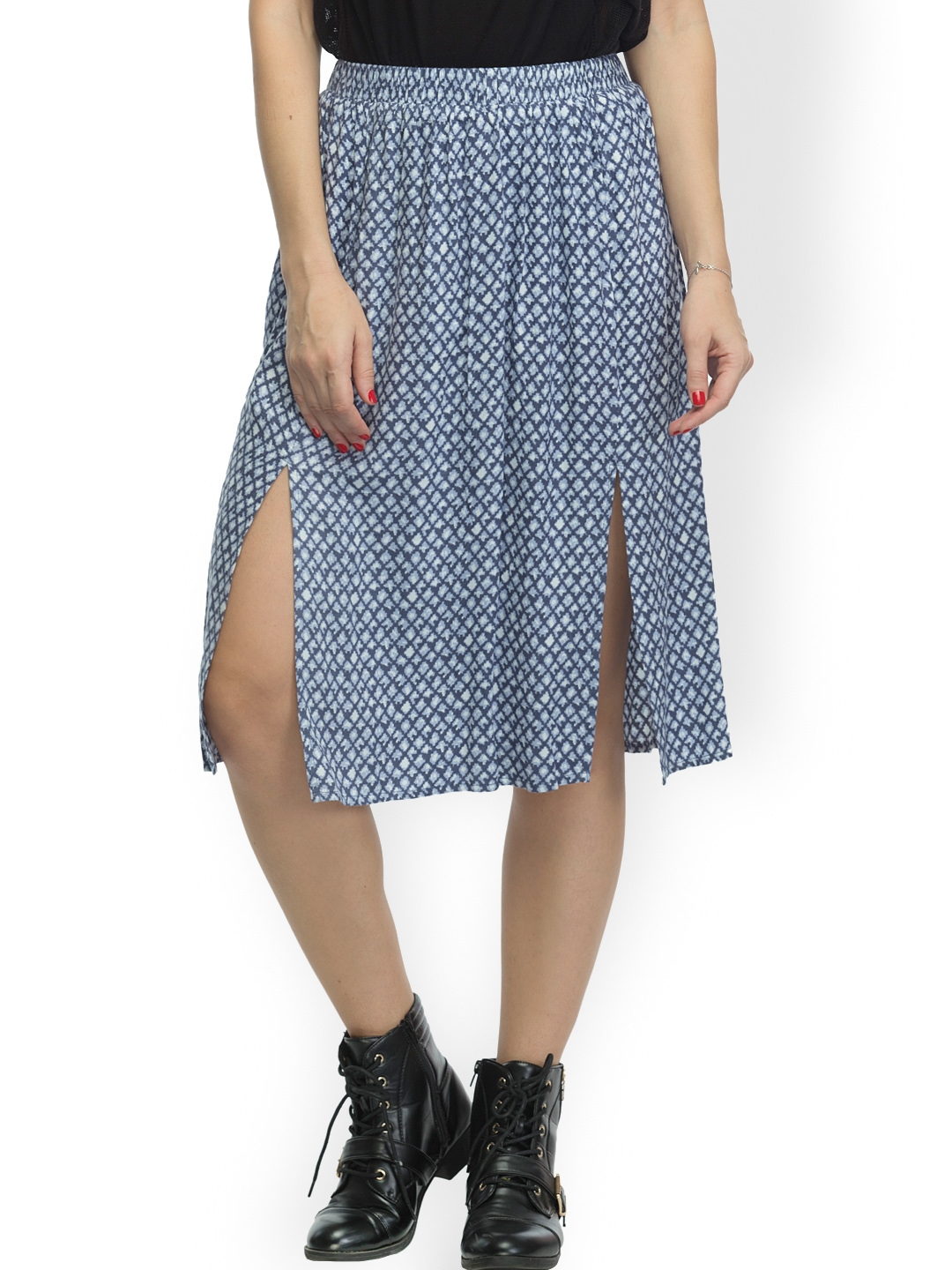 cc5e5bdf7911d Buy Oxolloxo Blue Printed A Line Skirt - Skirts for Women 980308 ...