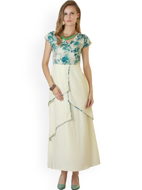 Belle Fille Blue   White Printed Maxi Dress