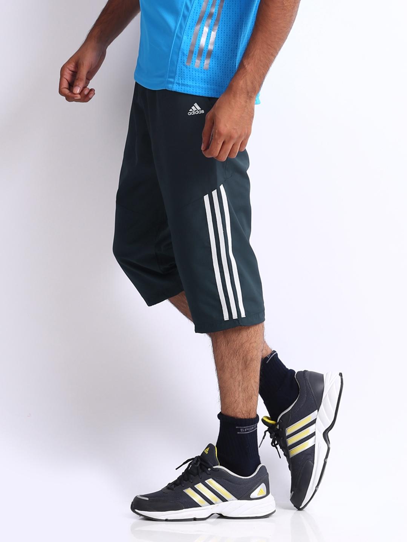 Buy ADIDAS Men Charcoal Grey 3 4 Length Pants - Shorts for Men ... c4e456c7b9
