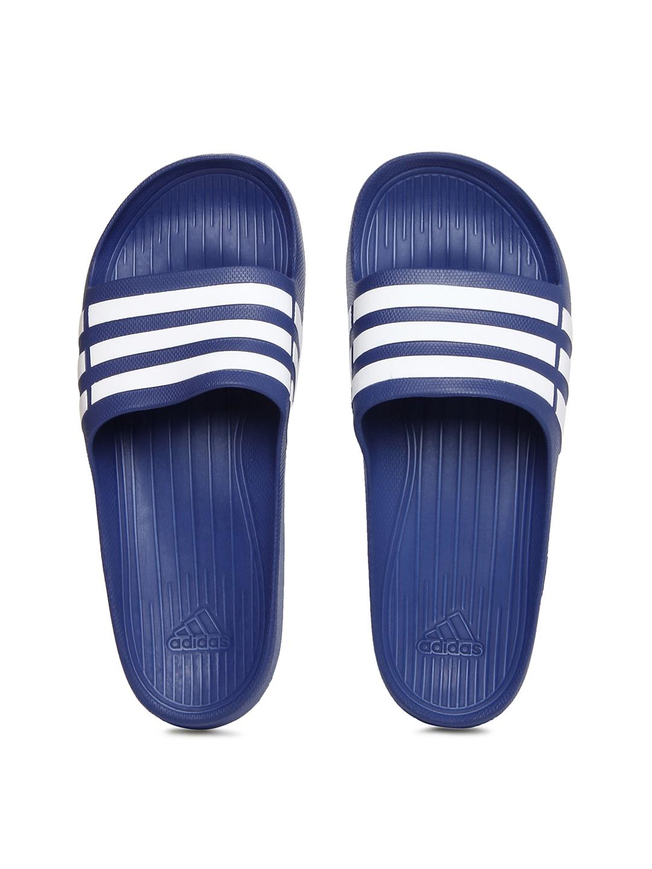 3447f17c98ab01 Buy ADIDAS Unisex Blue   White Duramo Slide Flip Flops - Flip Flops ...