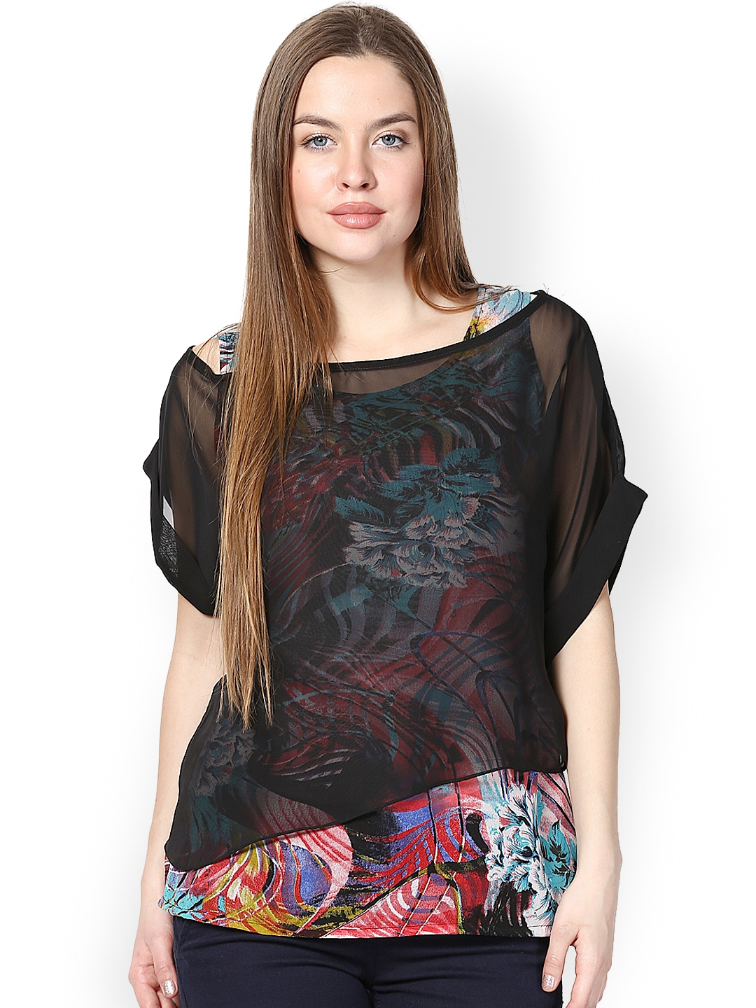 Buy Athena Women Black Printed Top - Tops For Women  Myntra-6531