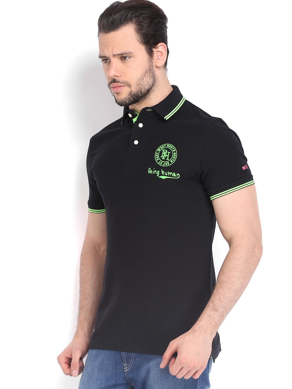 14ee5145 Buy Being Human Clothing Men Black Printed Pique Polo T Shirt ...