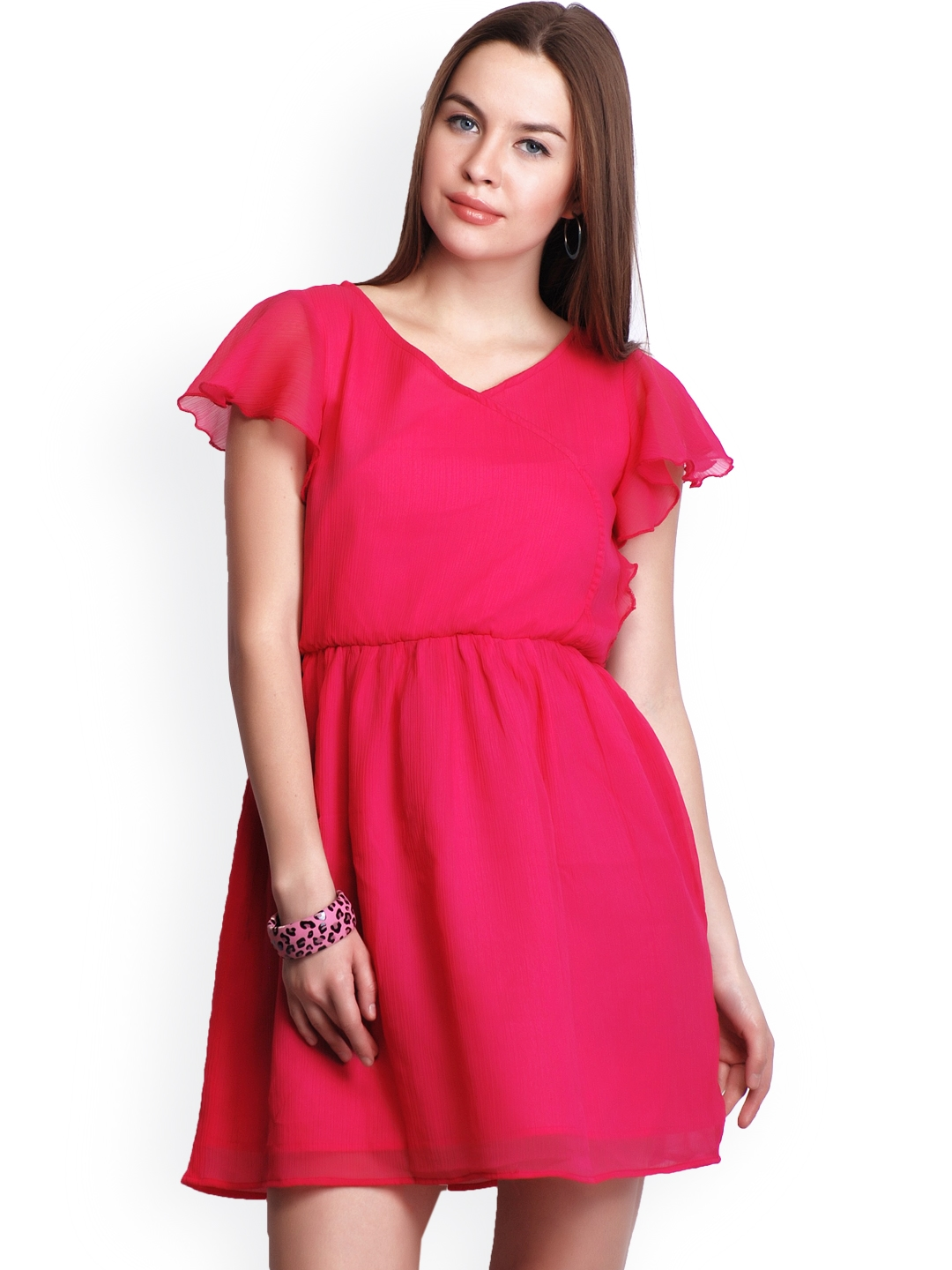 47a5f0506db34 Buy Belle Fille Fuchsia Pink Fit & Flare Dress - Dresses for Women ...