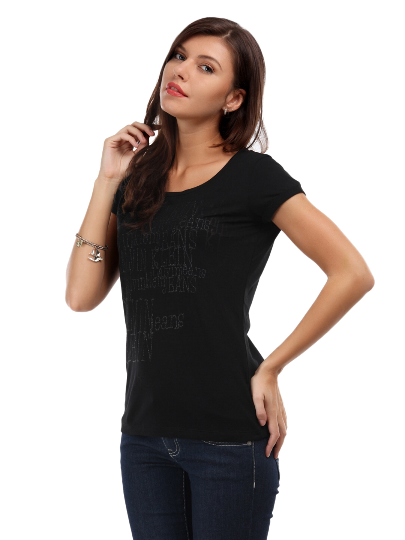 ec357c90b344 Buy Calvin Klein Jeans Women Black Glitter Burnt T Shirt - Tshirts ...