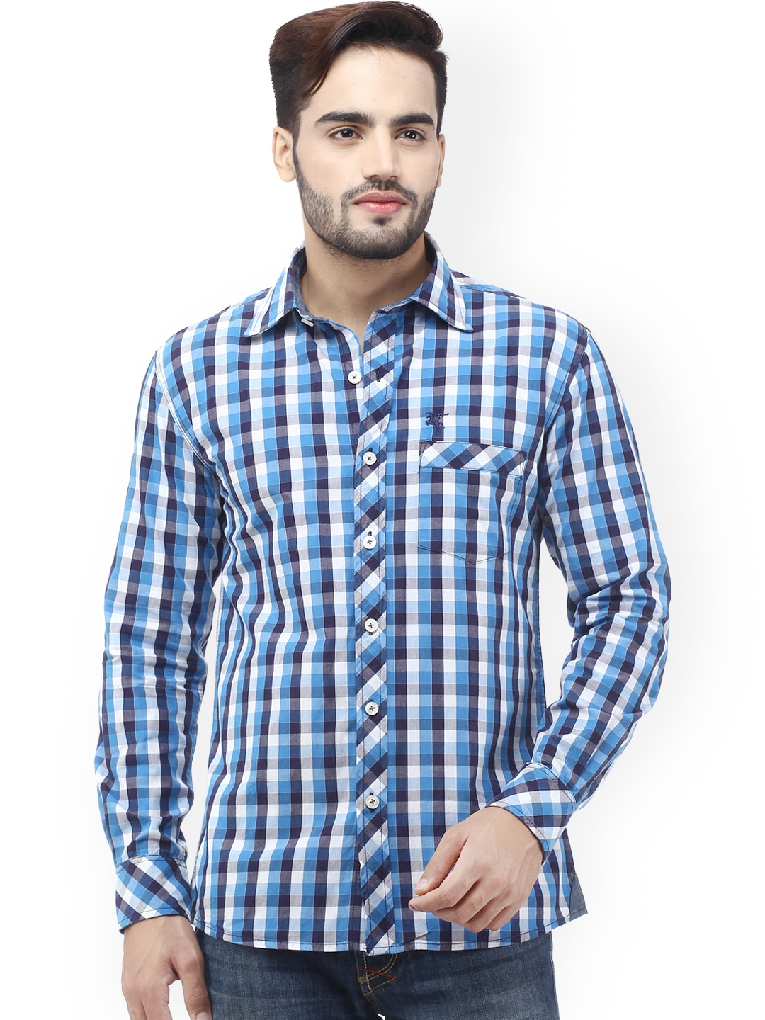 Buy Cantabil Men Multicoloured Checked Slim Fit Smart Casual Shirt ...