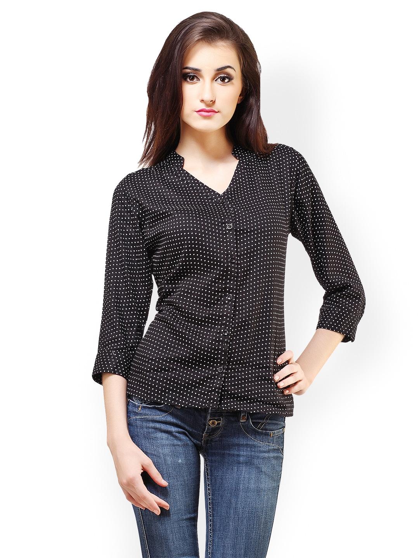 Cation Women Black Polka Dot Print Shirt
