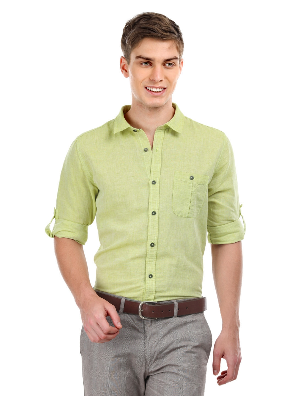 buy cherokee men pista green cotton u0026 linen slim casual shirt